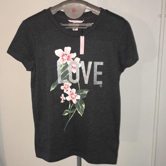 1271fcc23db8e Victorias Secret Love Tee Shirt Top Flower Floral NWT